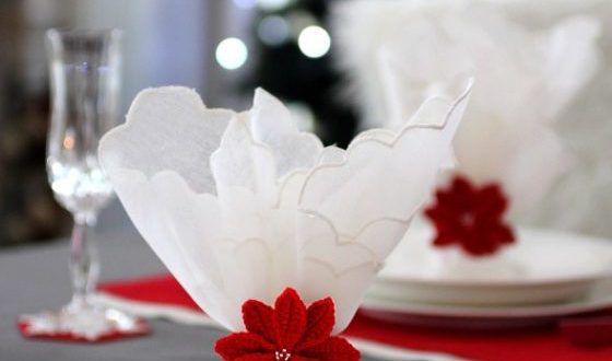 связать кольцо в виде цветка, пуансетия для салфетки