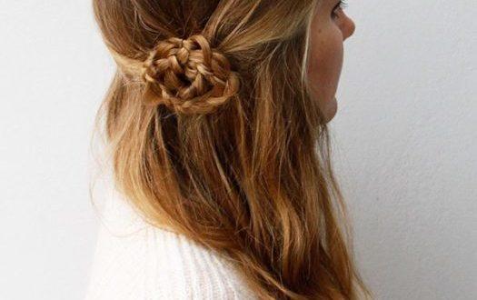 романтический цветок из косы